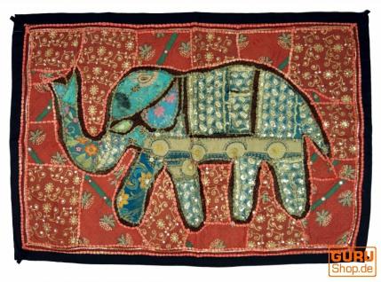 Indischer Wandteppich Patchwork Wandbehang mit Elefant, Einzelstück 90*65 cm - Muster 10