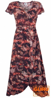 Boho Wickelkleid, langes Sommerkleid - dunkles rostrot