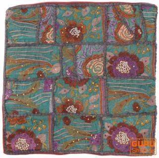 Patchwork Kissenhülle, Dekokissen Bezug aus Rajasthan, Einzelstück - Muster 28