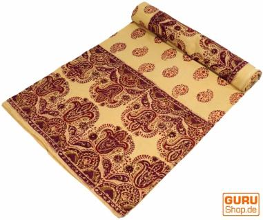 Blockdruck Tagesdecke, Bett & Sofaüberwurf, handgearbeiteter Wandbehang, Wandtuch - gelb/rot paisley
