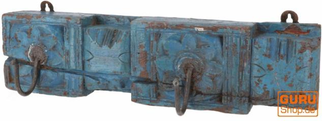 Indische Garderobenleiste, Vintage Wandhaken, Kleiderhaken, Garderobe aus alten Holzelementen - Modell 19 - Vorschau 1