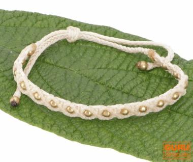 Ethno Perlenarmband, Makrameee Armband - beige