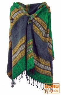 Weicher Pashmina Schal / Stola, Schultertuch - Inka Muster grün