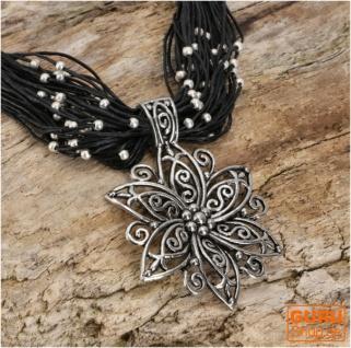Boho Halskette, Modeschmuck Kette - schwarz