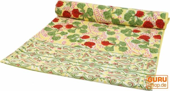 Blockdruck Tagesdecke, Bett & Sofaüberwurf, handgearbeiteter Wandbehang, Wandtuch - grün/cream Ornament