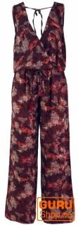Boho Jumpsuit, Sommer Overall mit weitem Rückenausschnitt, Hosenkleid - bordeauxrot