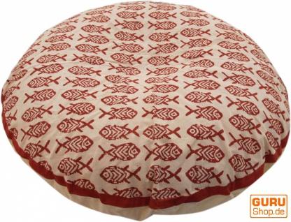 Runde Kissenbezug Blockdruck, Kissenhülle Ethno, Dekokissen Bezug mit traditionellem Design - Fische rot/weiß