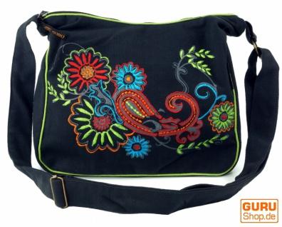 Schultertasche, Hippie Tasche, Goa Tasche - schwarz/bunt