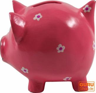Verrückte Sparbüchse aus Holz, von Hand bemalt - Glücks Schwein rosa - Vorschau 2