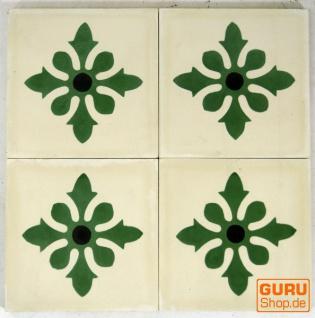 Zementfliesen Set, Ornament aus 4 Fliesen, weiß - Design 6