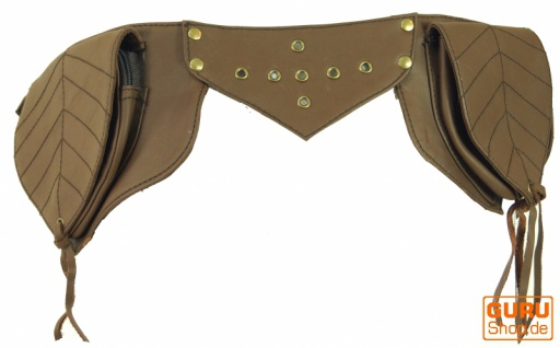 Sidebag, Leder Gürteltasche, Goa Tasche - hellbraun