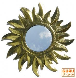 Sonnenspiegel, Deko Spiegel aus Holz in Sonnenform - gold 1