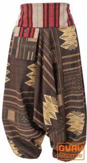 Haremshose mit breitem gewebtem Bund, Ikat Thai Pluderhose - braun