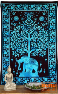 Indisches Wandtuch, Batik Tagesdecke - Tree of Life Elefant / türkis