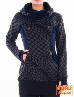 Tunika, langärmlig aus Bio-Baumwolle / Chapati Design - charcol/black spiral