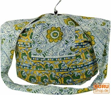 Sadhu Bag, Umhängetasche, Blockdruck Hippie Schultertasche - grün/Blumenmuster