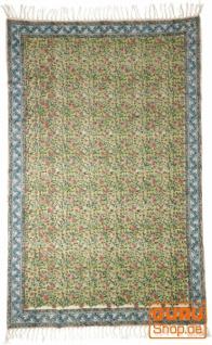 Handgewebter Blockdruck Teppich aus natur Baumwolle mit traditionellem Design - Muster 18