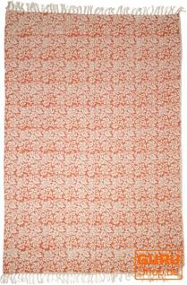 Handgewebter Blockdruck Teppich aus natur Baumwolle mit traditionellem Design - Muster 9