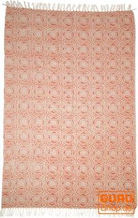 Handgewebter Blockdruck Teppich aus natur Baumwolle mit traditionellem Design - Muster 5