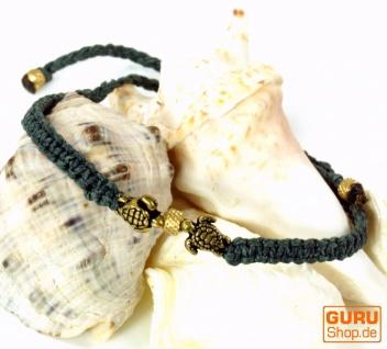 Ethno Perlenarmband mit Schildkröten, Makramee Armband - blaugrau