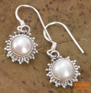 Indische Silberohrringe, filigrane Ethno Ohrringe, Boho Ornament Ohrhänger - Perle