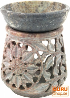 Indische Duftlampe, ätherisches Öl Diffusor, Teelicht Halter für Aromatherapie, Aromalampe aus Speckstein - Rund Blüte 3