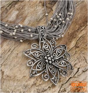 Boho Halskette, Modeschmuck Kette - grau