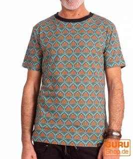 T-Shirt aus Bio-Baumwolle / Chapati Design - turq retro