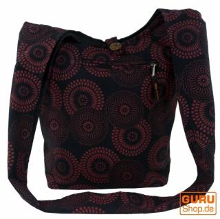 Sadhu Bag mit Blümchen-Druck, Goa Tasche - schwarz