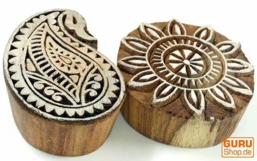 Indischer Textilstempel, Stoffdruckstempel, Blaudruck Stempel, Holz Model - Set 17