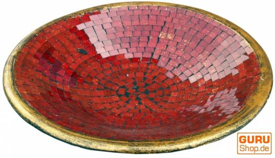 Runde Mosaikschale, Untersetzer, Dekoschale, handgearbeitete Keramik & Glas Obst Schale - Design 7