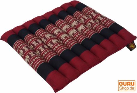 Thai Stuhlkissen, Bodenkissen, Sitzunterlage aus Kapok, 35*40 cm - rot/schwarz