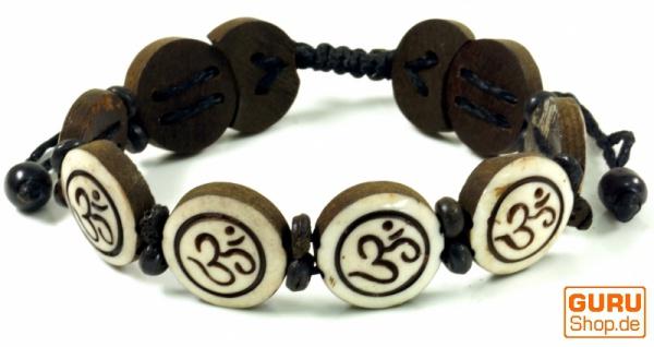 Buddhistisches Armband OM - weiß Modell 6