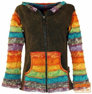 Patchwork Stonewash Regenbogen Jacke Zipfelkapuze, Goa Jacke - Modell 5