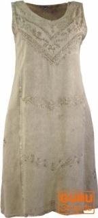Besticktes Boho Sommerkleid, Midikleid, indisches Hippie Kleid in 7/8 Länge, beige - Design 2