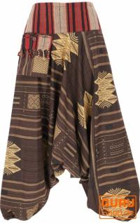 Haremshose mit breitem gewebtem Bund und Fransentasche, Ikat Thai Pluderhose - braun