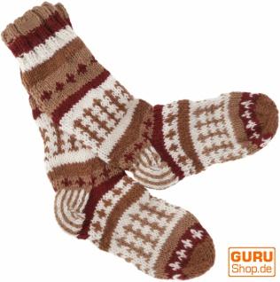 Handgestrickte Schafwollsocken, Nepal Socken 44-46 - braun/bunt