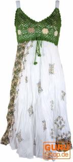 Boho Minikleid, Sommerkleid, Krinkelkleid - weiß/grün