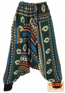 Flauschige Paisley Haremshose, Inka Pluderhose, Pumphose, Aladinhose - tannengrün