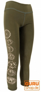 Psytrance Damen Leggings, Chakra Yoga Leggings, Yogahose - olivgrün
