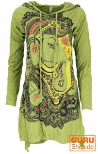 Baba Longshirt, Langarm Psytrance Minikleid - Ganesh / lemongrün