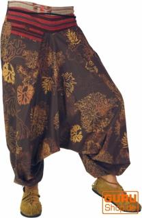 Bedruckte Haremshose mit breitem gewebtem Bund - braun