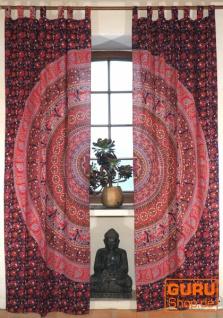 Vorhang, Gardine (1 Paar Vorhänge, Gardinen) mit Schlaufen, Mandala Motiv - lila/rot