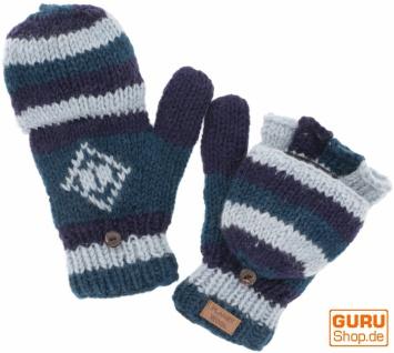 Handgestrickte Handschuhe, Klapphandschuhe Nepal, Wollhandschuhe - blau