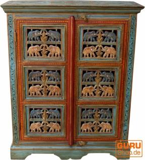 Bemalter Elefantenschrank, Beistellschrank, Kommode mit Schnitzerei - Modell 1