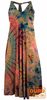 Rückenfreies Batik Midikleid, Neckholder Boho Pixi Kleid - rostorange