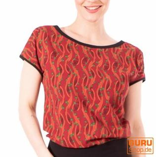 T-Shirt aus Bio-Baumwolle / Chapati Design - wine berry