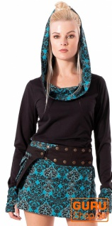 Pullover, Langarmshirt mit Kapuze aus Bio-Baumwolle / Chapati Design - petrol multi