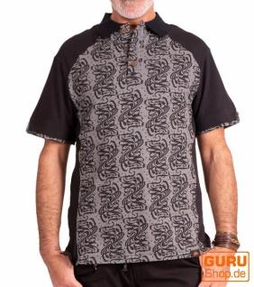 Poloshirt, Hemd aus Bio-Baumwolle / Chapati Design - black wave