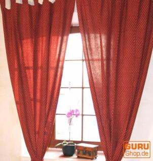 Boho Vorhänge, Gardine (1 Paar ) mit Schlaufen, handbedruckter ethno Style Vorhang - rot gemustert